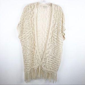 Pink Rose Long Open Crochet Tassle Cardigan